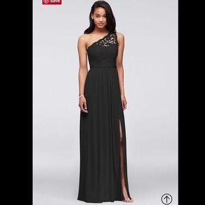 Long one shoulder lace dress